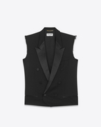 SAINT LAURENT Tuxedo Jacket D le smoking sleeveless jacket in black grain de poudre f