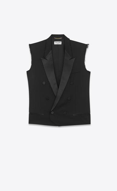 SAINT LAURENT Tuxedo Jacket D le smoking sleeveless jacket in black grain de poudre a_V4
