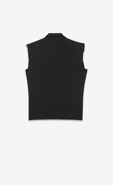 SAINT LAURENT Tuxedo Jacket D le smoking sleeveless jacket in black grain de poudre b_V4