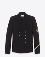 SAINT LAURENT Blazer Jacket U double breasted military jacket in black gabardine f