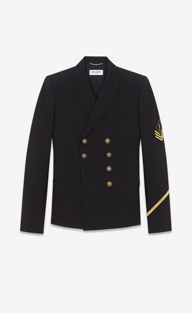 SAINT LAURENT Blazer Jacket U double breasted military jacket in black gabardine a_V4