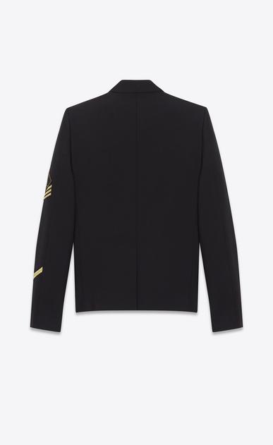 SAINT LAURENT Blazer Jacket U double breasted military jacket in black gabardine b_V4