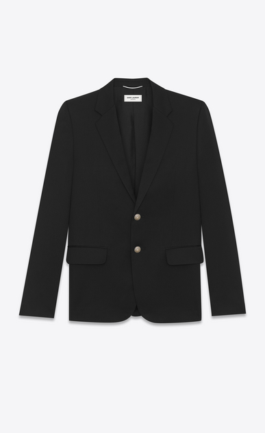 SAINT LAURENT Blazer Jacket Man classic single-breasted blazer in black virgin wool gabardine a_V4