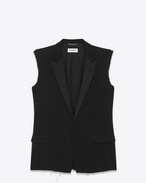SAINT LAURENT Blazer Jacket U classic single-breasted sleeveless jacket in black gabardine f