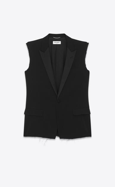 SAINT LAURENT Blazer Jacket U classic single-breasted sleeveless jacket in black gabardine a_V4