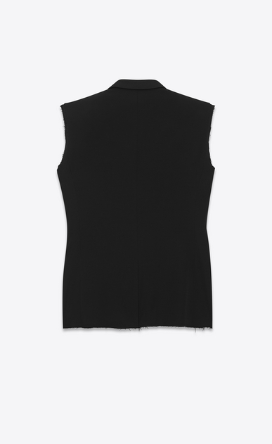 SAINT LAURENT Blazer Jacket U classic single-breasted sleeveless jacket in black gabardine b_V4