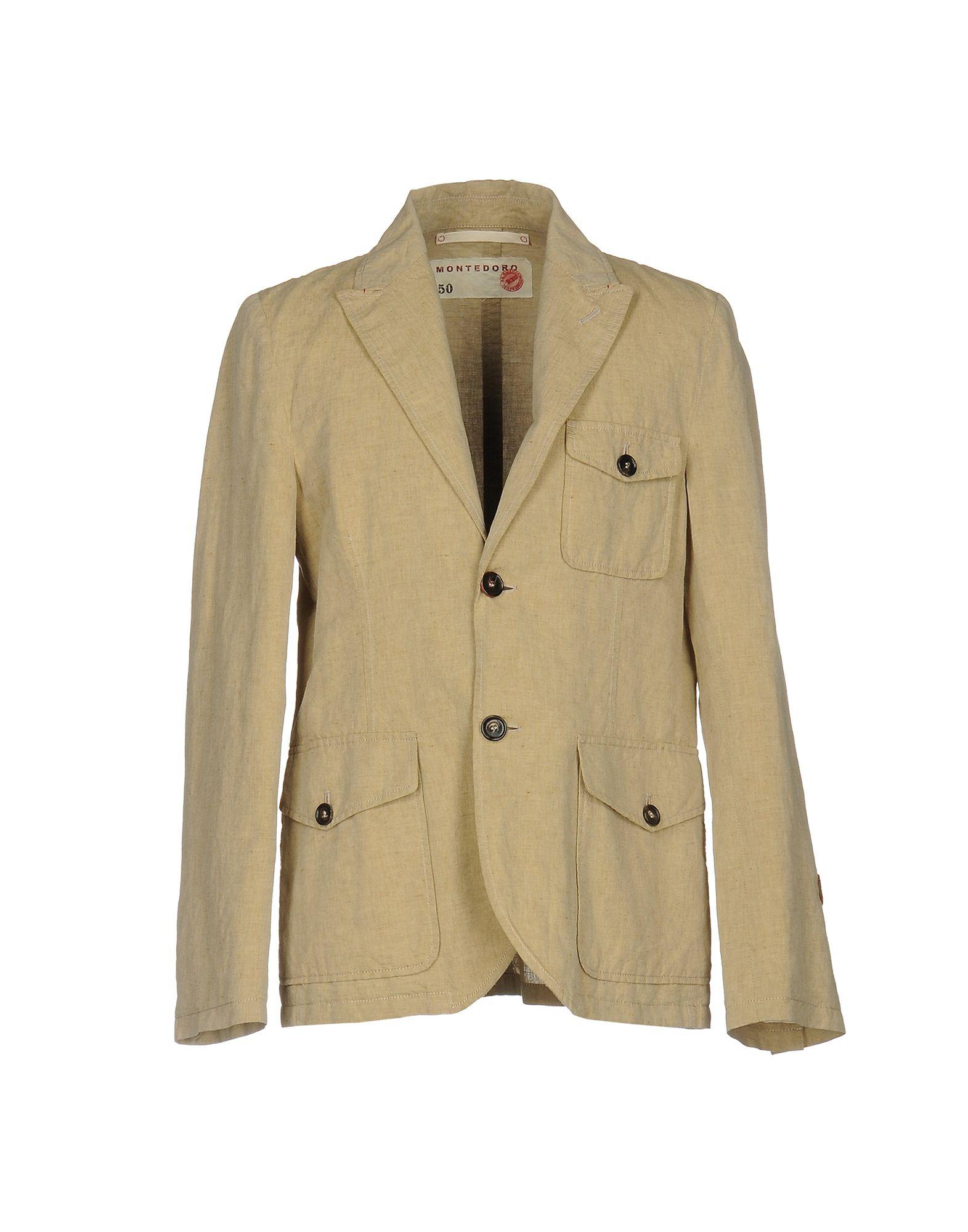 《セール開催中》MONTEDORO RED メンズ テーラードジャケット サンド 50 コットン 52% / 麻 48%