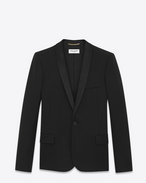 SAINT LAURENT Tuxedo Jacket D Iconic LE SMOKING Single-Breasted Jacket in Black Grain de Poudre f