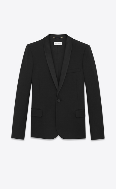 SAINT LAURENT Vestes de smoking D Veste à boutonnage simple LE SMOKING en grain-de-poudre noir a_V4