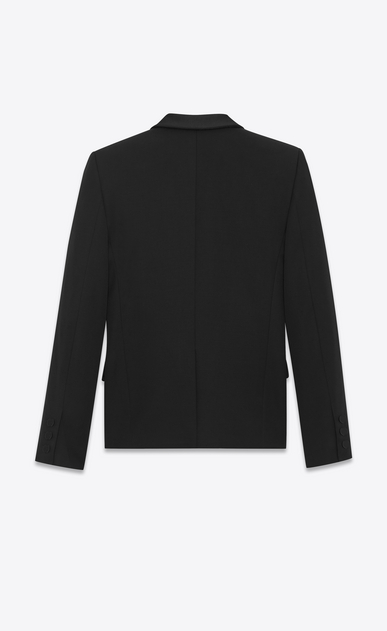 SAINT LAURENT Tuxedo Jacket D Iconic LE SMOKING Single-Breasted Jacket in Black Grain de Poudre b_V4