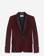 SAINT LAURENT Tuxedo Jacket D Iconic LE SMOKING Single-Breasted Jacket in Burgundy Velvet f