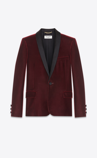 SAINT LAURENT Vestes de smoking D Veste à boutonnage simple LE SMOKING en velours bordeaux a_V4