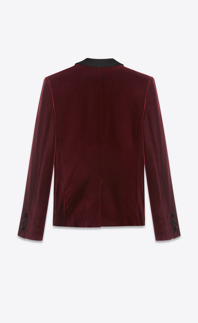 SAINT LAURENT Vestes de smoking D Veste à boutonnage simple LE SMOKING en velours bordeaux b_V4