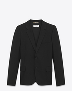 SAINT LAURENT Blazer Jacket D Single-Breasted Jacket in Black Gabardine f