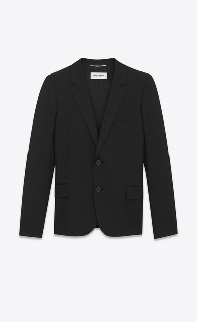 SAINT LAURENT Blazer Jacket Woman Single-Breasted Jacket in Black Gabardine a_V4