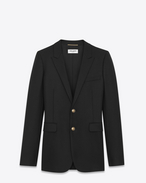 SAINT LAURENT Blazer Jacket D Single-Breasted Long Jacket in Black Gabardine f