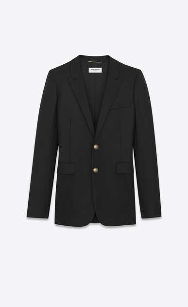 SAINT LAURENT Blazer Jacket D Single-Breasted Long Jacket in Black Gabardine a_V4
