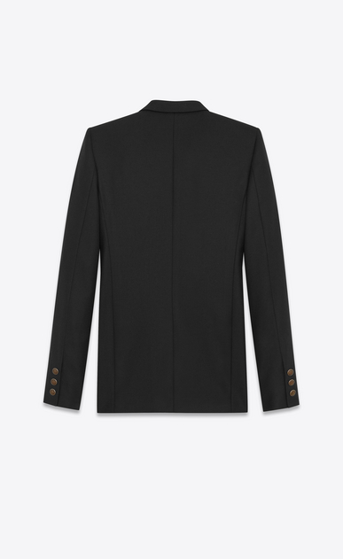 SAINT LAURENT Blazer Jacket Woman Single-Breasted Long Jacket in Black Gabardine b_V4