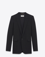 SAINT LAURENT Blazer Jacket D Single-Breasted Tube Jacket in Black Gabardine f