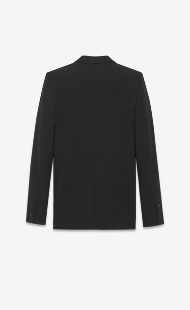 SAINT LAURENT Blazer D Giacca monopetto Tube nera in gabardine b_V4