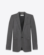 SAINT LAURENT Blazer Jacket D Single-Breasted Tube Jacket in Black and White Chevron Woven Wool f