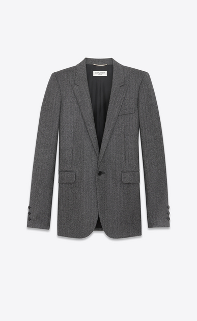 SAINT LAURENT Blazer Jacket D Single-Breasted Tube Jacket in Black and White Chevron Woven Wool a_V4