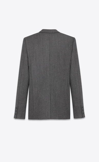 SAINT LAURENT Blazer Jacket D Single-Breasted Tube Jacket in Black and White Chevron Woven Wool b_V4