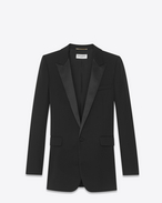 SAINT LAURENT Tuxedo Jacket D Iconic LE SMOKING Single-Breasted Tube Jacket in Black Grain de Poudre f