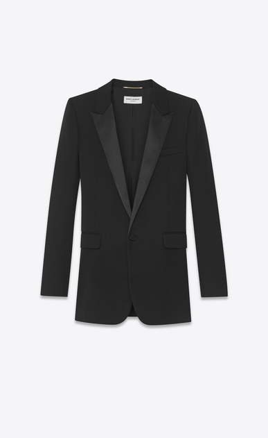 SAINT LAURENT Tuxedo Jacket Woman Iconic LE SMOKING Single-Breasted Tube Jacket in Black Grain de Poudre a_V4