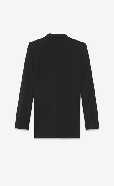 SAINT LAURENT Tuxedo Jacket Woman Iconic LE SMOKING Single-Breasted Tube Jacket in Black Grain de Poudre b_V4