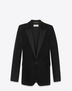 SAINT LAURENT Tuxedo Jacket D Iconic LE SMOKING Single-Breasted Tube Jacket in Black Velvet f