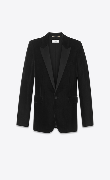SAINT LAURENT Vestes de smoking D Veste tube à boutonnage simple LE SMOKING en velours noir a_V4
