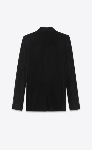 SAINT LAURENT Vestes de smoking D Veste tube à boutonnage simple LE SMOKING en velours noir b_V4