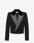 SAINT LAURENT Tuxedo Jacket D Iconic LE SMOKING Spencer Cropped Jacket in Black Grain de Poudre and Clear Crystal f