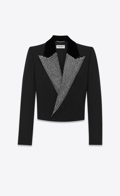 SAINT LAURENT Tuxedo Jacket D Iconic LE SMOKING Spencer Cropped Jacket in Black Grain de Poudre and Clear Crystal a_V4