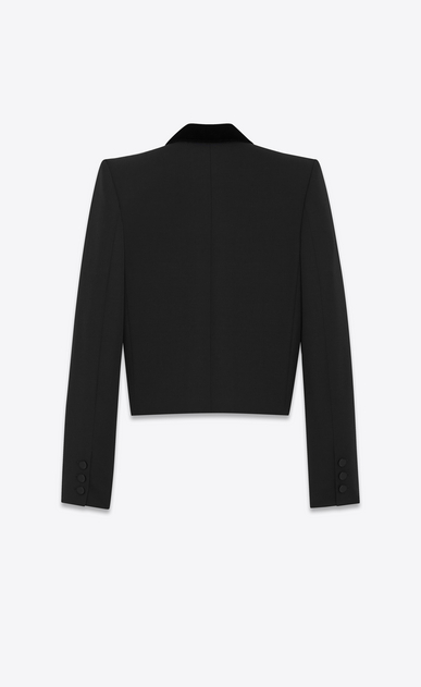 SAINT LAURENT Tuxedo Jacket D Iconic LE SMOKING Spencer Cropped Jacket in Black Grain de Poudre and Clear Crystal b_V4
