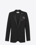 SAINT LAURENT Tuxedo Jacket D Iconic LE SMOKING Single-Breasted Pins Tube Jacket in Black Gabardine f
