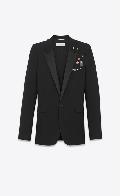 SAINT LAURENT Tuxedo Jacket D Iconic LE SMOKING Single-Breasted Pins Tube Jacket in Black Gabardine a_V4