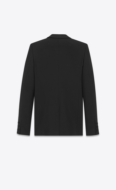 SAINT LAURENT Vestes de smoking D Veste tube à broches et boutonnage simple LE SMOKING en gabardine noire b_V4