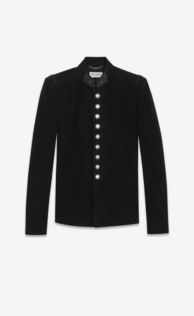 SAINT LAURENT Blazer Jacket D Officer Jacket in Black Brushed Suede a_V4