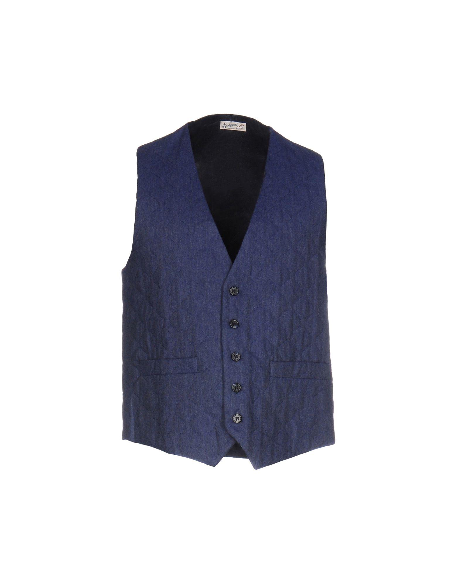 《送料無料》BEVILACQUA メンズ ジレ ブルー XL コットン 100%