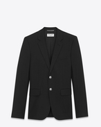 SAINT LAURENT Blazer Jacket U Classic Single-Breasted Jacket in Black Gabardine f