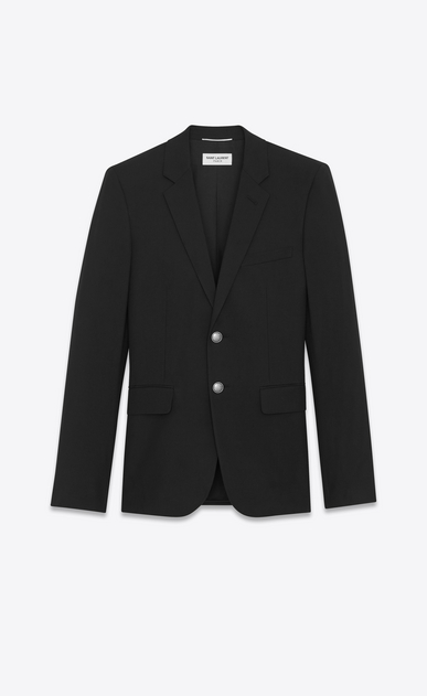 SAINT LAURENT Blazer Jacket Man Classic Single-Breasted Jacket in Black Gabardine a_V4