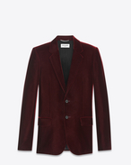 SAINT LAURENT Blazer Jacket U Classic Single-Breasted Jacket in Burgundy Velvet f