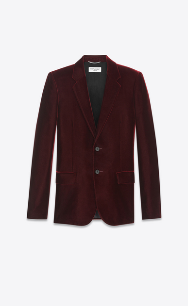 SAINT LAURENT Blazer Jacket U Classic Single-Breasted Jacket in Burgundy Velvet a_V4