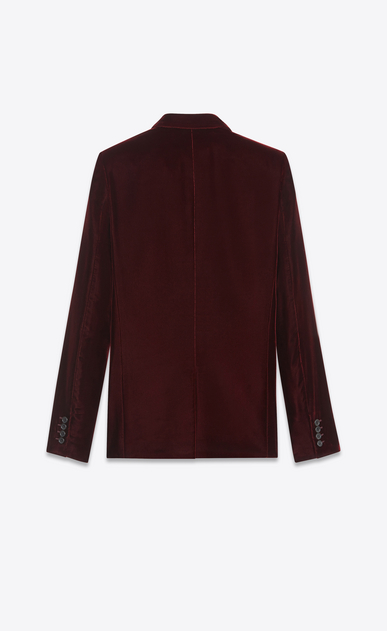 SAINT LAURENT Blazer Jacket U Classic Single-Breasted Jacket in Burgundy Velvet b_V4
