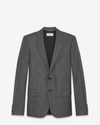 SAINT LAURENT Blazer U Classic Single-Breasted Jacket in Black and White Chevron Woven Wool f