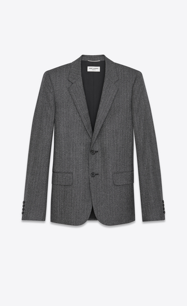 SAINT LAURENT Blazer Jacket U Classic Single-Breasted Jacket in Black and White Chevron Woven Wool a_V4