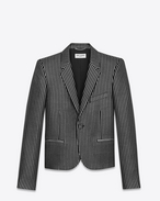 SAINT LAURENT Blazer U Single-Breasted Club Jacket in Black and Metallic Silver Striped Wool and Acrylic f