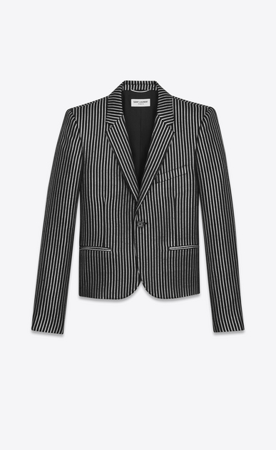 SAINT LAURENT Blazer Jacket U Single-Breasted Club Jacket in Black and Metallic Silver Striped Wool and Acrylic a_V4